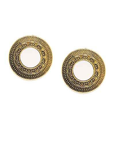 Golden Round Stud Earrings