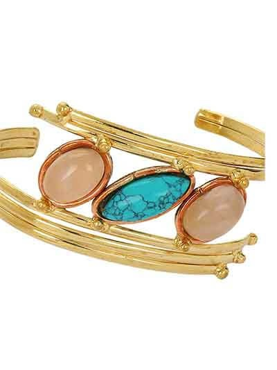Rose Quartz and Turquoise Brass Bracelet Cuffs