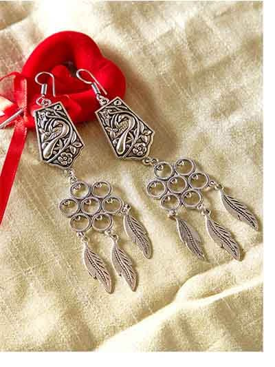 Peacock Oxidized Silver Earrings With Circular Motifs
