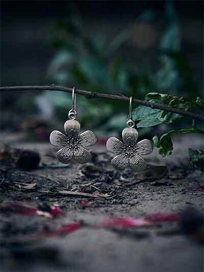 Chunky Silver Flower Oxidized Earrings