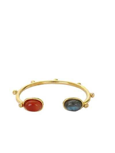 Beaded Labrodorite and Carnelian Brass Bracelet Cuffs