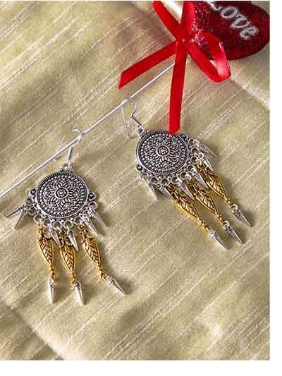 Silver Coins Oxidized Bali Earrings