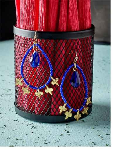 Blue Beaded Hoop Earrings With Golden Hangings