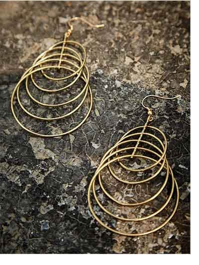 5 Levelled Gold Plated Designer Hoops Western Earrings