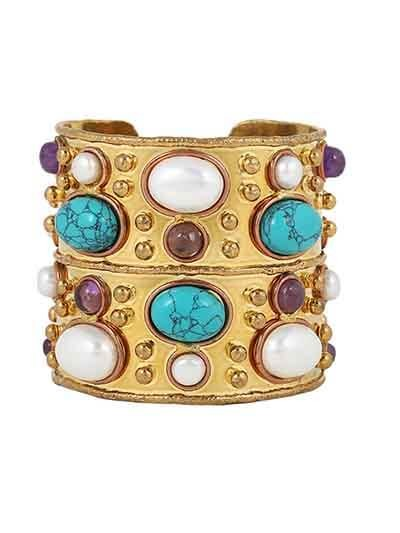 Turquoise and Pearl Handmade Jewellery Brass Cuff