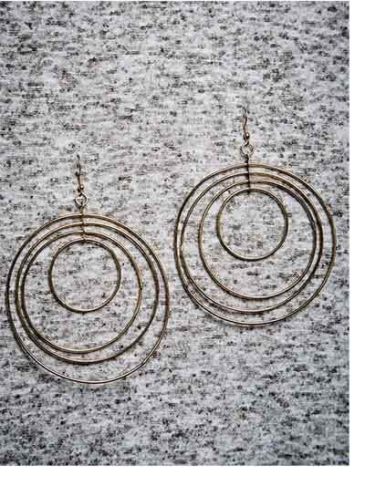 Multi-levelled Gold Plated Big Designer Hoops Western Earrings