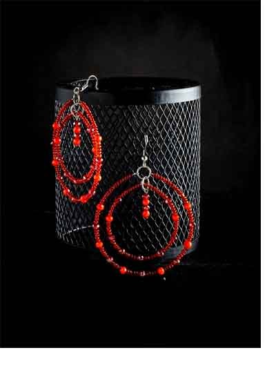 Beaded Red and Orange Layered Hoop Earrings