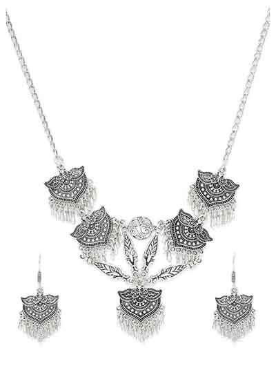 Oxidized Silver Necklace Set With Elaborated Designer Motifs