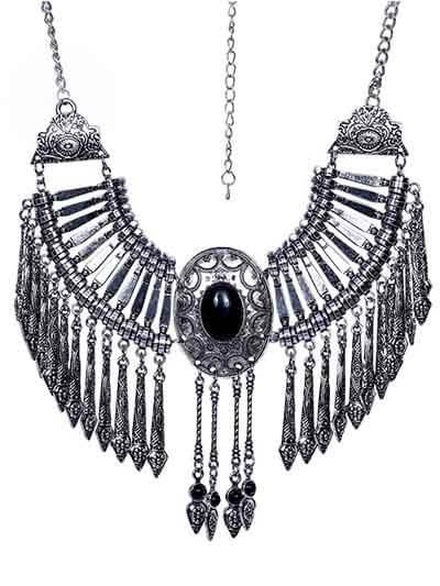 Black Stone Silver Collar Tassel Fashion Necklace