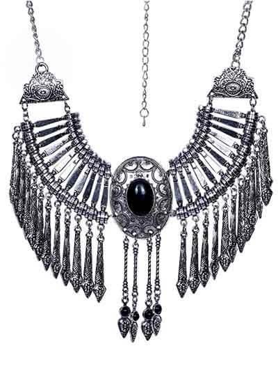 Black Stone Silver Collar Tassel Fashion Necklace