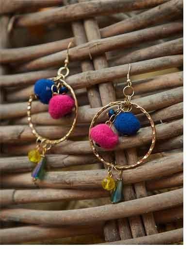 Blue and Pink Western Tassel Handmade Earrings
