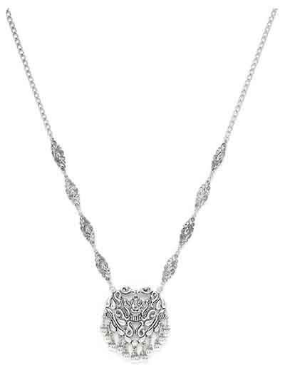 Long Oxidized Silver Ganesha Pendant Necklace