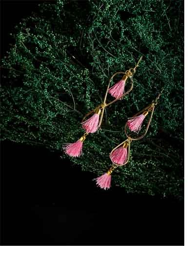 Golden and Pink Tassel Western Handmade Earrings
