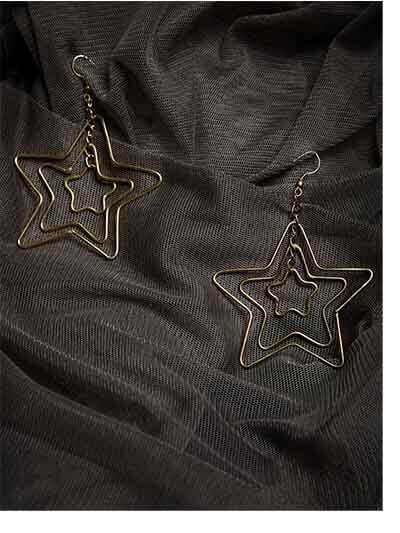 Triple Star Gold Plated Designer Western Earrings