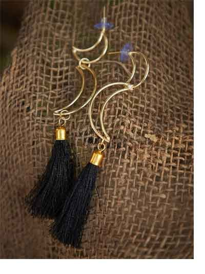 Moon Western Handmade Earrings With Black Tassels