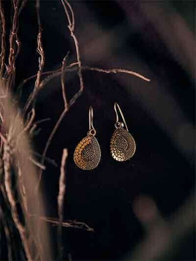 Patterned Drop Golden Earrings
