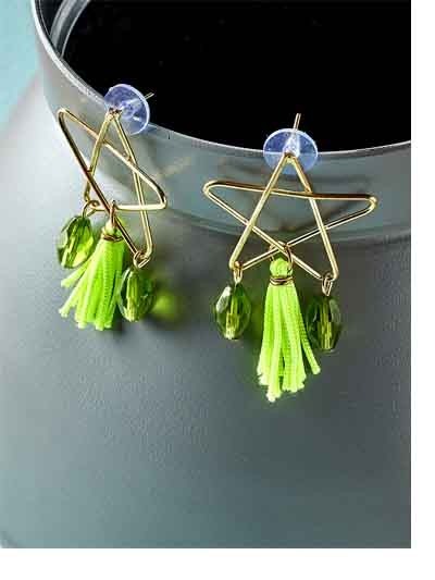 Green and Golden Western Handmade Earrings