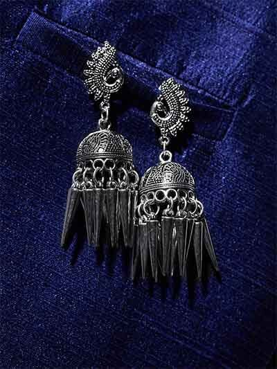 Mor Embellished Tribal Jewellery Long Jhumkis With Pretty Hangings