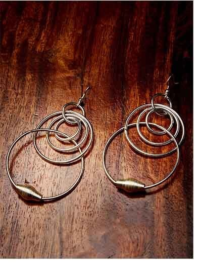 Swirled Silver Plated Hoops Western Earrings
