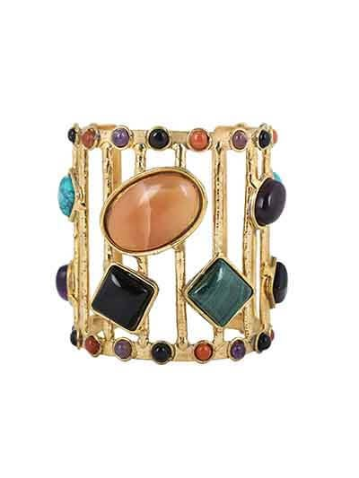 Black Amethyst Malachite Red Adventurian Handmade Jewellery Cuff