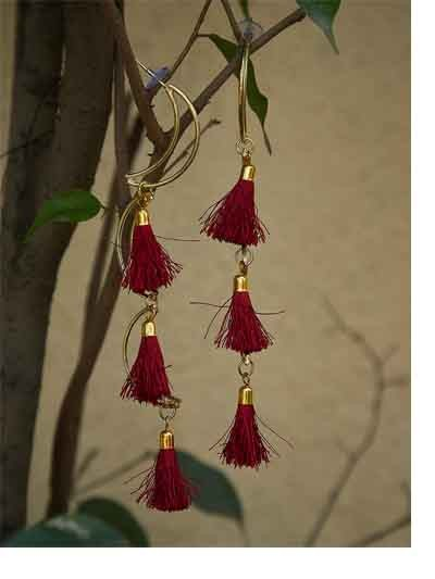 Layered Moon Western Handmade Earrings With Maroon Tassels