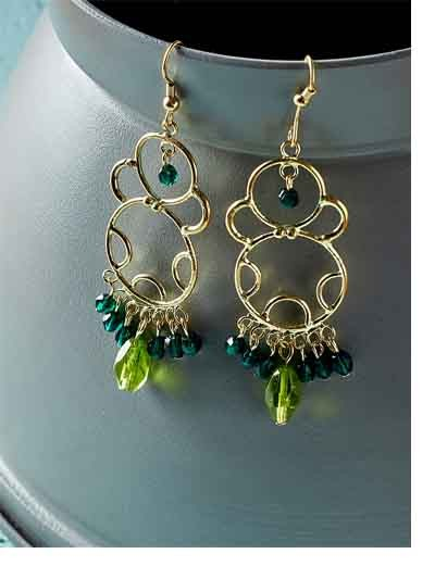 Golden Western Handmade Earrings With Green beads