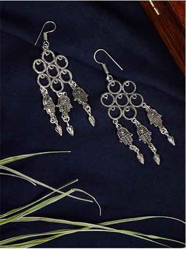Oxidized Silver Hand Earrings