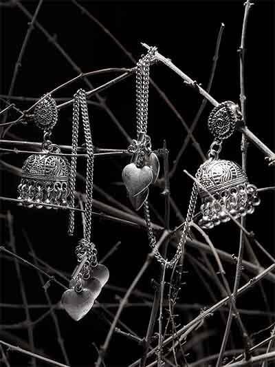 Embellished Kashmiri Short Jhumkas with Pretty Heart Hangings