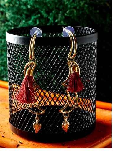 Moon Western Handmade Earrings With Maroon Tassels