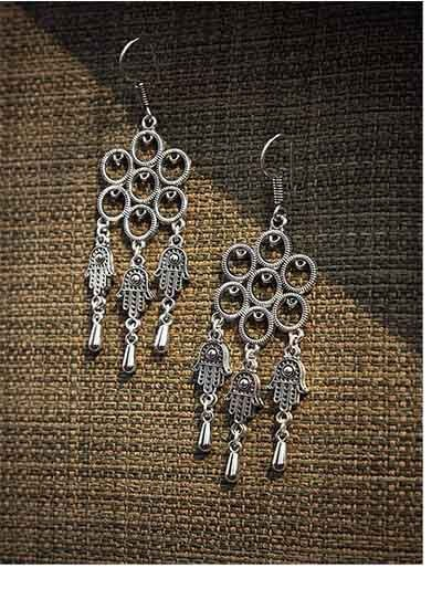 Oxidized Silver Palm Earrings