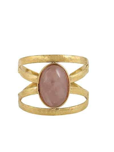 Rose Quartz Brass Jolie Handmade Jewellery Cuff