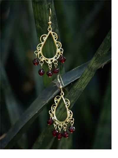 Golden Western Handmade Earrings With Maroon Beads