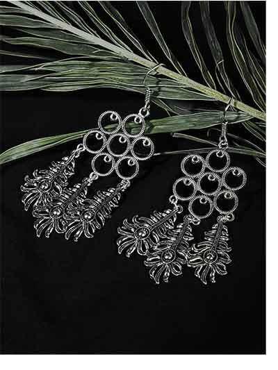 Long Oxidized Silver Patterned Earrings