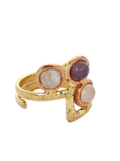 Designer Brass Ring Studded With Semi-Precious Gemstones