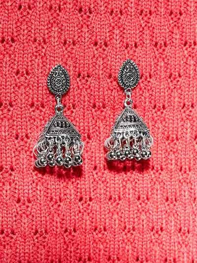 Embellished Dome Tribal Jewellery Short Jhumkis With Hanging Silver Bells