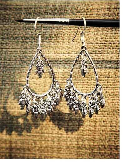 Oxidized Silver Butterfly Dangler Earrings