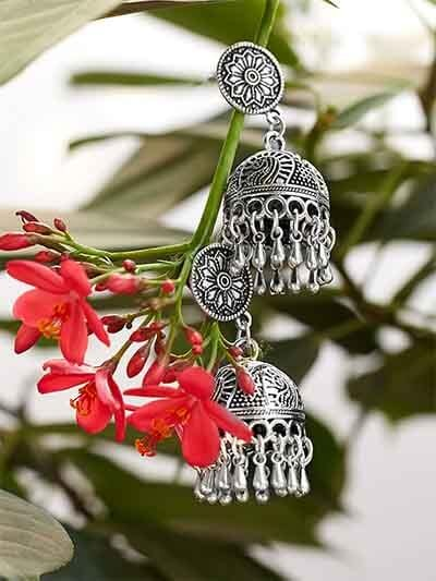 Handmade Tribal Jewellery Short Jhumkis With Pretty Hangings