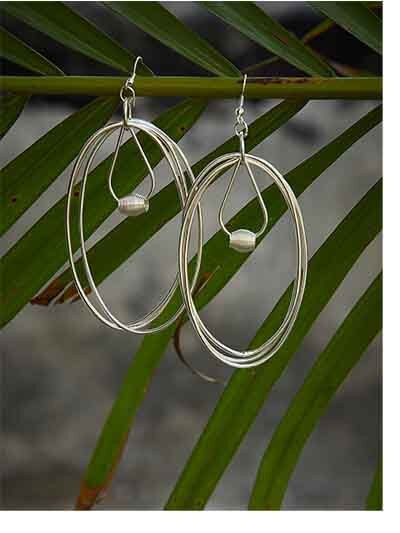 Multiple Delicate Silver Plated Oval Hoops Designer Western Earrings