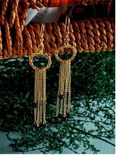 Golden Chain Earrings With Black Beads