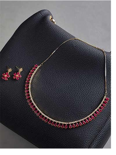 Red Stone Embellished Zircon Choker Necklace Set