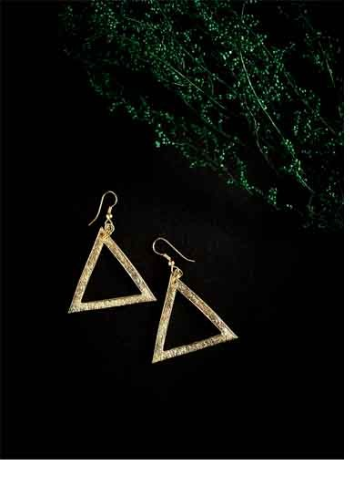 Triangular Golden Western Handmade Earrings