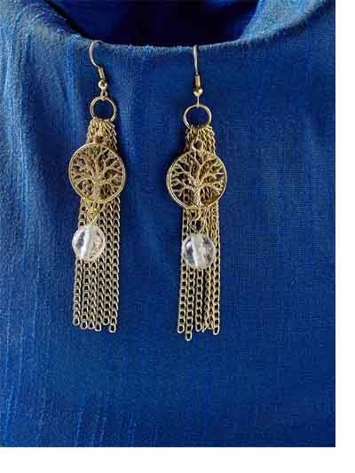Tree and Chain Western Handmade Earrings With Grey Beads