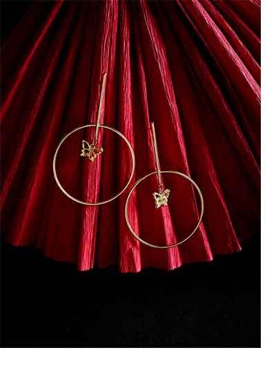 Golden Hoop Earrings With Hanging Butterflies
