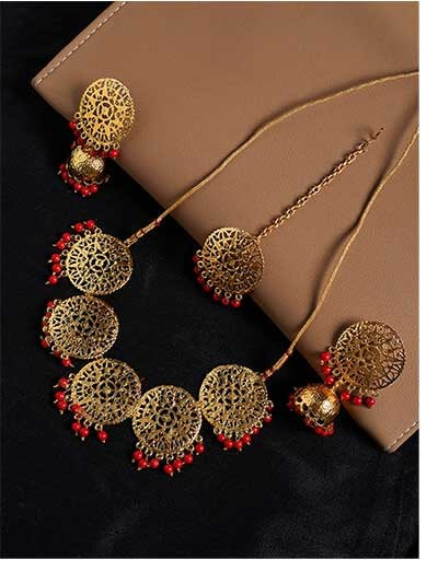 Floral Motifs Handmade Necklace Set With Red Hanging Pearls