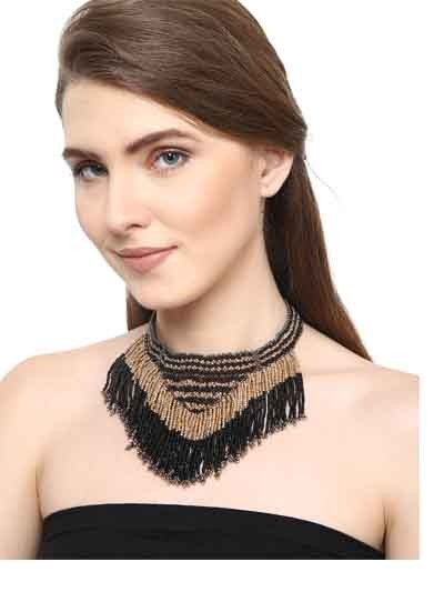 Alloy Metal Noir Gold Fringes Fashion Necklace for Women