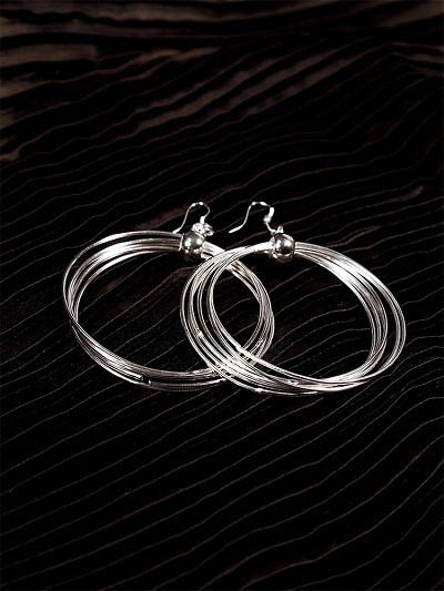 Swirls and Twirls Silver Plated Designer Hoops Western Earrings