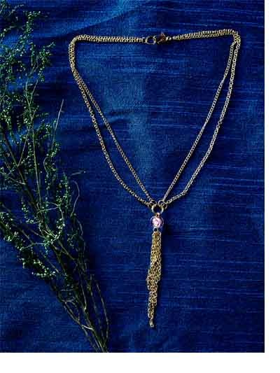 Golden Chain Fashion Handmade Necklace With Pink Stone
