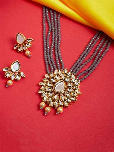 Gold Plated Kundan Studded Handcrafted Necklace Set