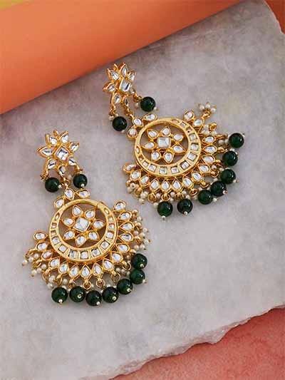 Golden and Dark Green Kundan Studded Brass Earrings