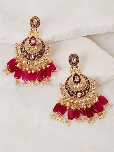 Red Kundan and Meena Studded Brass Earrings